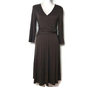 Garnet Hill Brown wool faux wrap dress M
